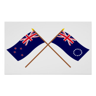 Nueva Zelanda y banderas cruzadas de las islas de  Póster