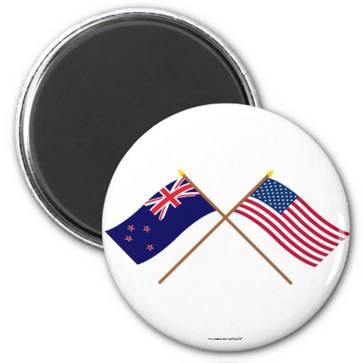 Nueva Zelanda y banderas cruzadas Estados Unidos Iman De Frigorífico