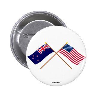 Nueva Zelanda y banderas cruzadas Estados Unidos Pin