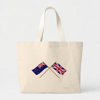 Nueva Zelanda y banderas cruzadas Reino Unido Bolsas