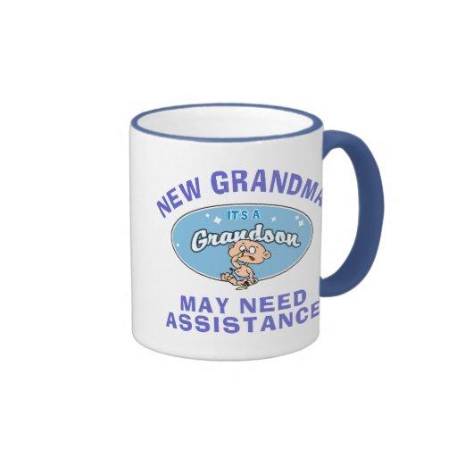 Nuevas camisetas del nieto de la nueva abuela taza de dos colores