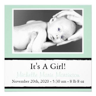Nuevas invitaciones ventosas de la foto del bebé anuncio personalizado