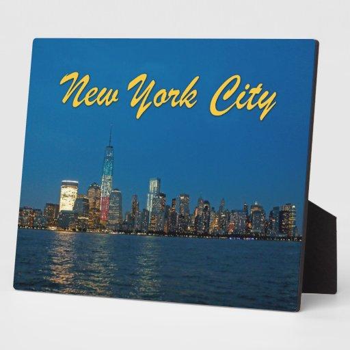 Nuevas luces de la noche de New York City los E.E. Placa Para Mostrar
