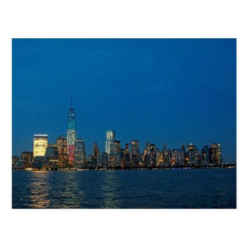 Nuevas luces de la noche de New York City los E.E. Postales