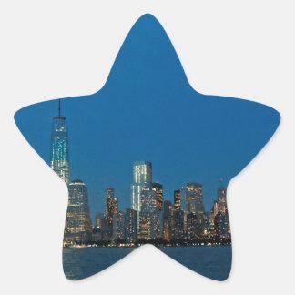 Nuevas luces de la noche de New York City los Calcomania Cuadrada Personalizada