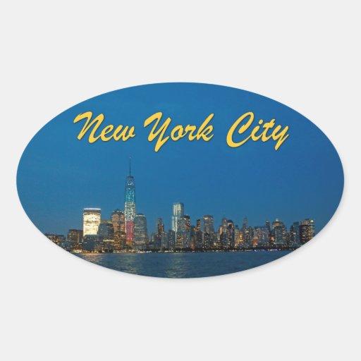 Nuevas luces de la noche de New York City los Pegatina Ovalada