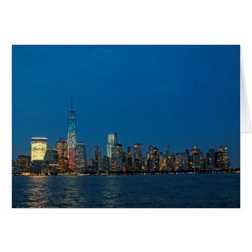 Nuevas luces de la noche de New York City los Tarjeta De Felicitación
