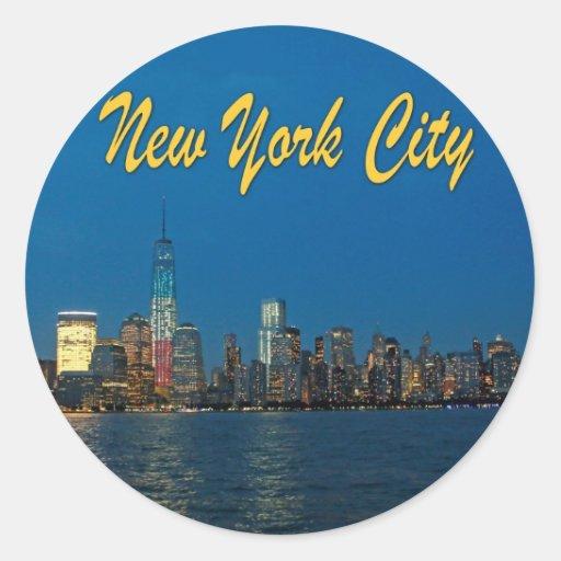 Nuevas luces de New York City Pegatina Redonda