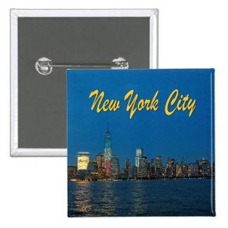 Nuevas luces de New York City Pin Cuadrada 5 Cm