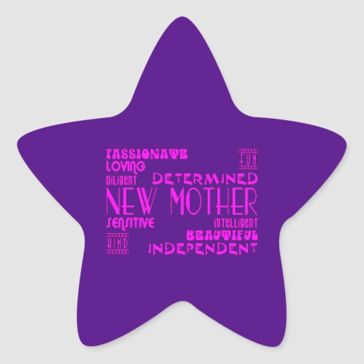 Nuevas madres y nuevas fiestas de bienvenida al pegatina forma de estrella personalizadas
