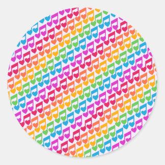 Nuevas notas impresionantes del arco iris pegatina redonda