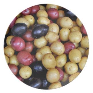 Nuevas patatas coloridas en la placa plato de comida