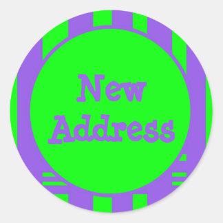 Nuevas rayas brillantes de la dirección pegatina redonda