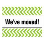 Nuevas rayas verdes móviles caseras del zigzag de tarjeta postal