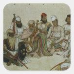 Nueve cortesanos y criados del Raja Pegatina Cuadrada