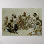 Nueve cortesanos y criados del Raja Póster
