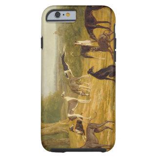 Nueve galgos en un paisaje (aceite en lona) funda de iPhone 6 tough