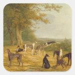Nueve galgos en un paisaje (aceite en lona) etiqueta