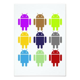Nueve insecto Droids (androide multicolor) Invitación 12,7 X 17,8 Cm