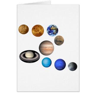 Nueve planetas en la Sistema Solar Tarjeta