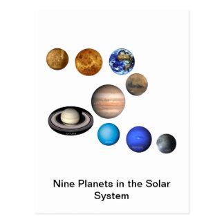 Nueve planetas en la Sistema Solar Postales
