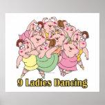 nueve señoras que bailan el noveno 9no día de navi posters