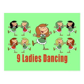 Nueve señoras que bailan las postales