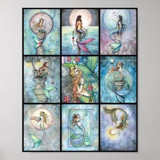Nueve sirenas en un poster por Molly Harrison
