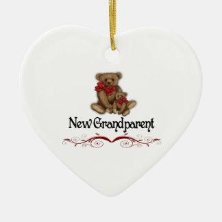 Nuevo abuelo del navidad adorno navideño de cerámica en forma de corazón