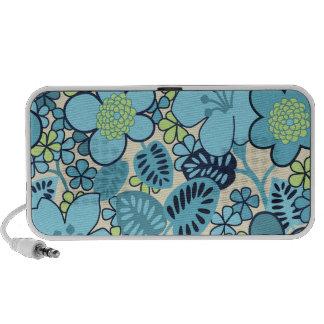 Nuevo altavoz portátil floral azul maravilloso de
