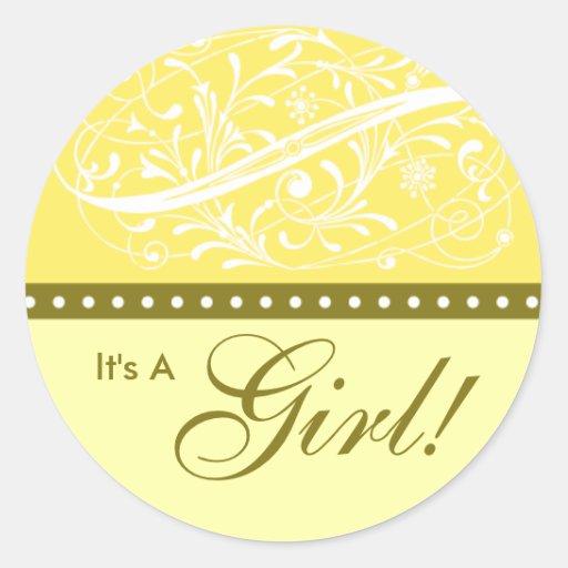 Nuevo amarillo de la fiesta de bienvenida al bebé etiqueta redonda