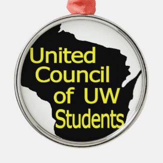 Nuevo amarillo unido del logotipo del consejo en adorno navideño redondo de metal