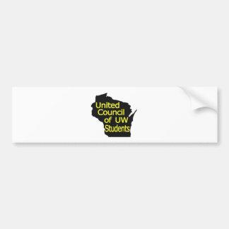Nuevo amarillo unido del logotipo del consejo en n pegatina de parachoque