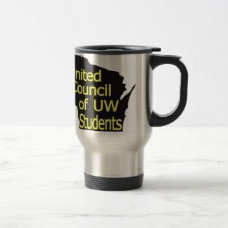 Nuevo amarillo unido del logotipo del consejo en n taza de viaje de acero inoxidable