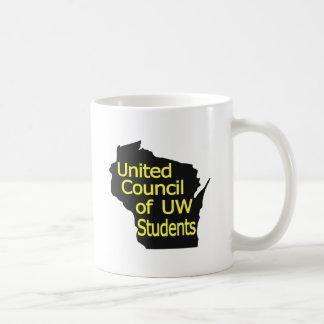 Nuevo amarillo unido del logotipo del consejo en n taza básica blanca
