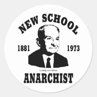 Nuevo anarquista  --  Ludwig von Mises Pegatina Redonda