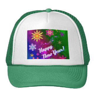 Nuevo año feliz feliz colorido gorras de camionero