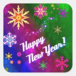 Nuevo año feliz feliz colorido calcomania cuadradas personalizadas