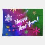 Nuevo año feliz feliz colorido toallas