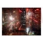 Nuevo año: fuego artificial - felicitacion