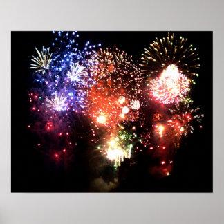 Nuevo año: racimo final de fuego artificial - póster