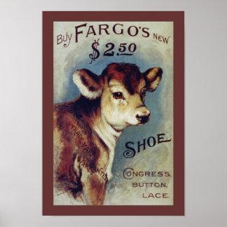 Nuevo arte de la etiqueta del vintage del zapato d póster