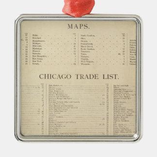 Nuevo atlas comercial del índice adorno navideño cuadrado de metal