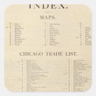 Nuevo atlas comercial del índice pegatina cuadrada