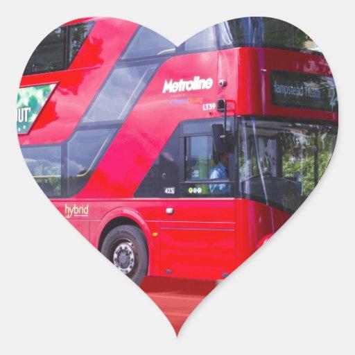 Nuevo autobús del rojo de Londres Pegatina En Forma De Corazón
