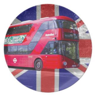 Nuevo autobús del rojo de Londres Platos Para Fiestas