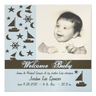 """Nuevo azul del aviso del bebé invitación 5.25"""" x 5.25"""""""