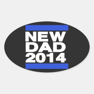 Nuevo azul del papá 2014 pegatina ovalada