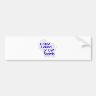 Nuevo azul unido del logotipo del consejo en gris etiqueta de parachoque
