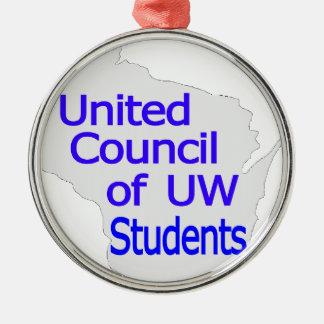 Nuevo azul unido del logotipo del consejo en gris ornamento de navidad